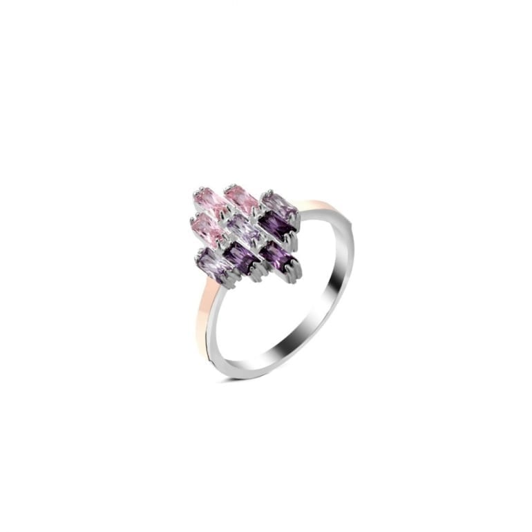 Sterling silver ring with gold plates with purple and pinkcubic zirconia