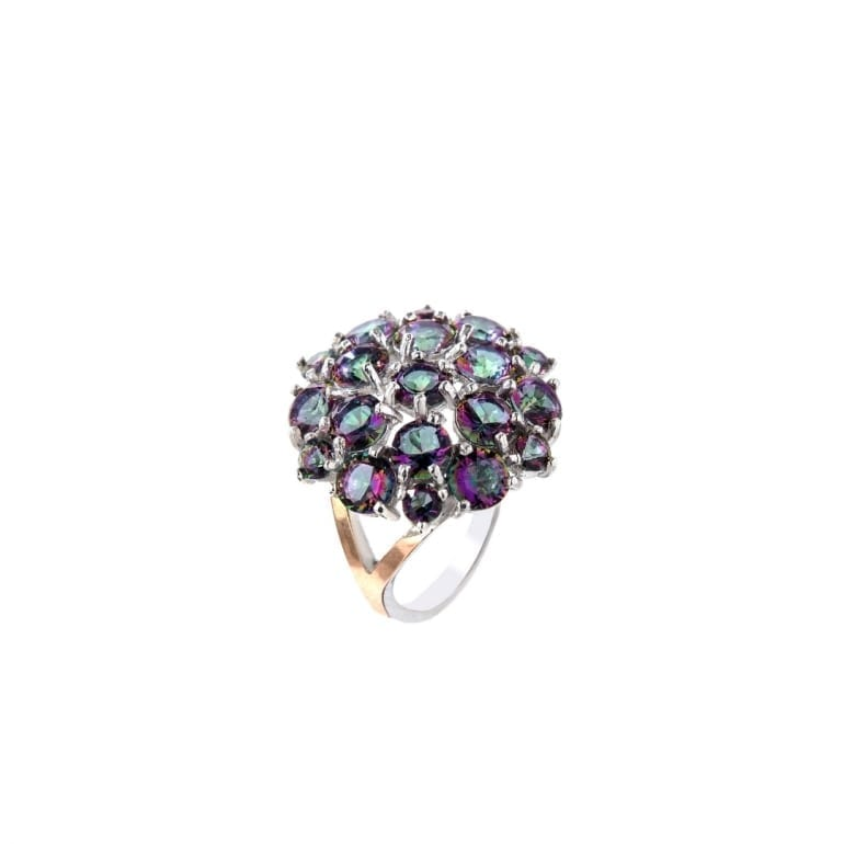 Sterling silver ring with gold plates and mystic topaz