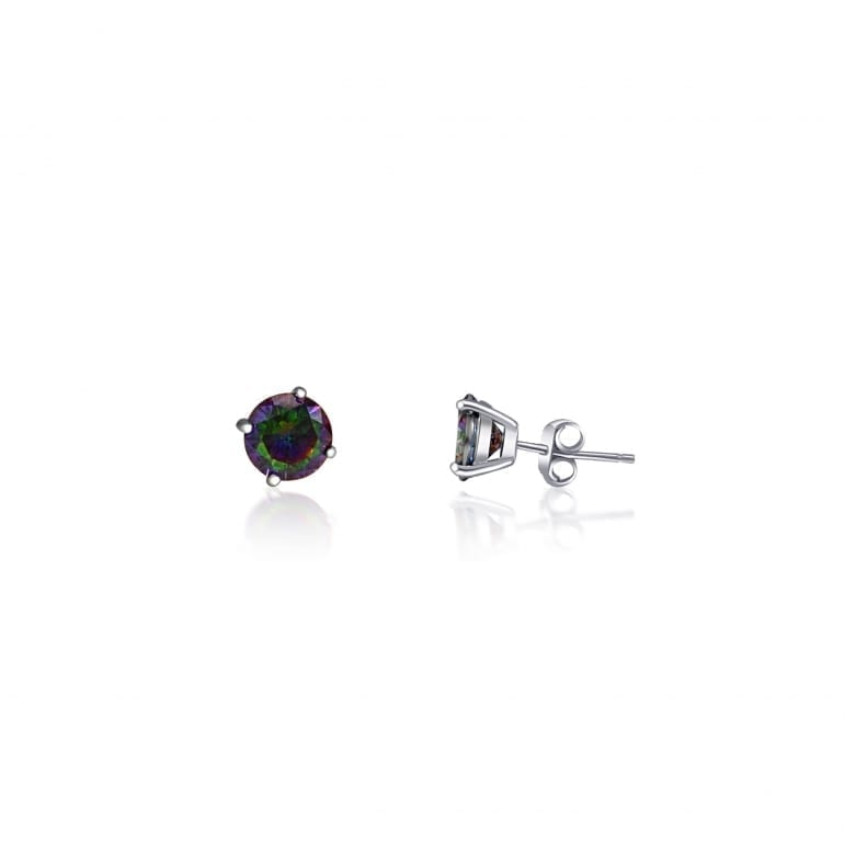 Sterling silver stud earrings with mystic topaz