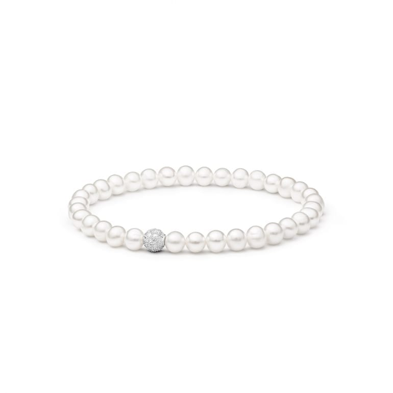 Sterling Silver Bracelet With Cultivated Pearls And Cubic Zirconia