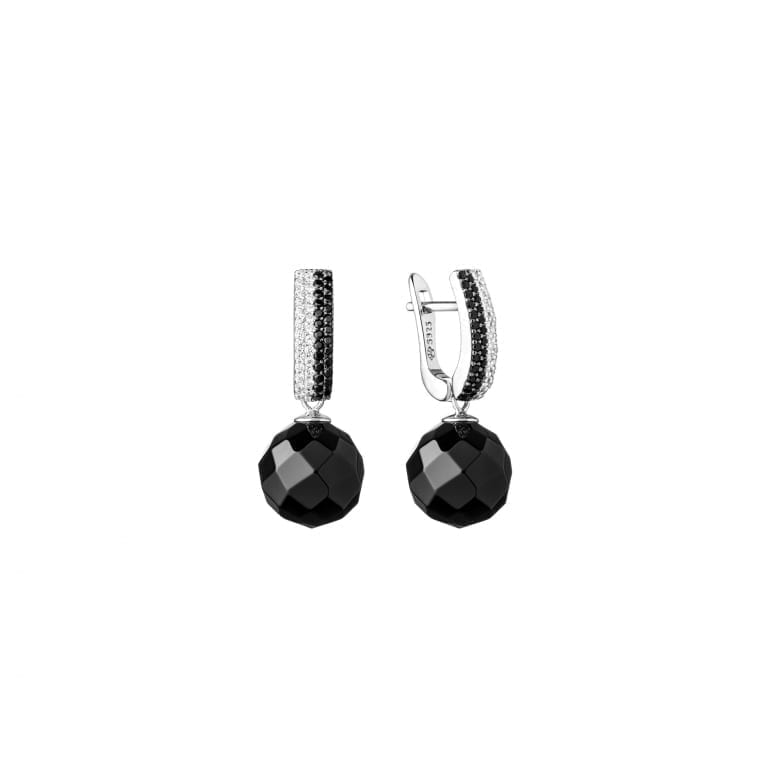 Sterling silver earrings with cubic zirconia and onyx