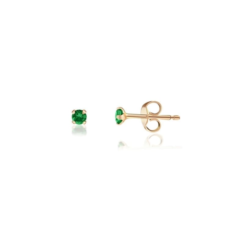 Rose gold stud earrings with green cubic zirconia