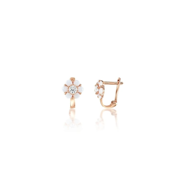 Rose Gold Earrings With Quartz And Cubic Zirconia