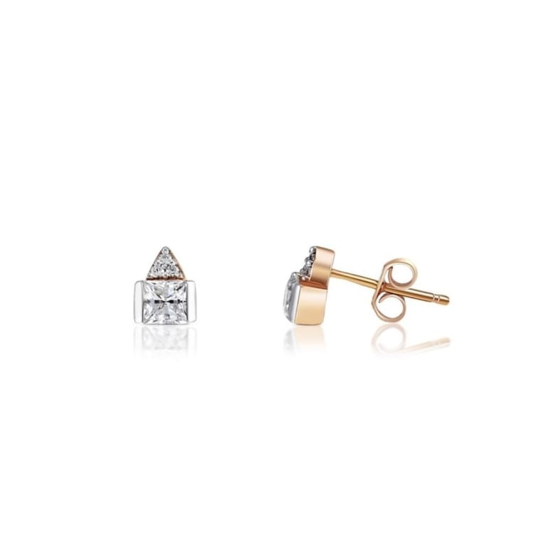 Rose gold stud earrings with cubic zirconia