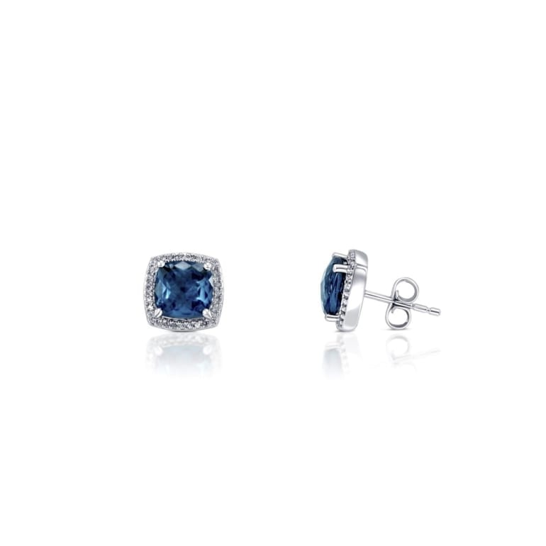 White gold earrings with Blue London Topaz and diamonds