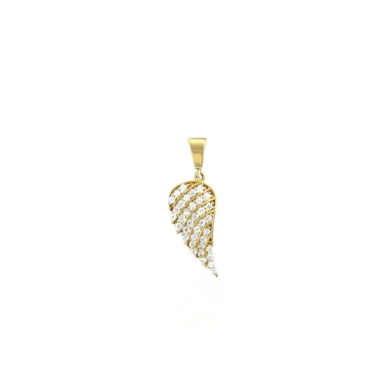 Yellow gold pendant with cubic zirconia angel wing