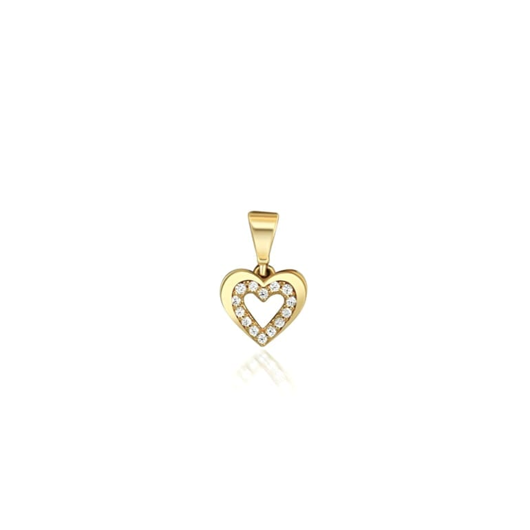 Yellow gold pendant with cubic zirconia heart