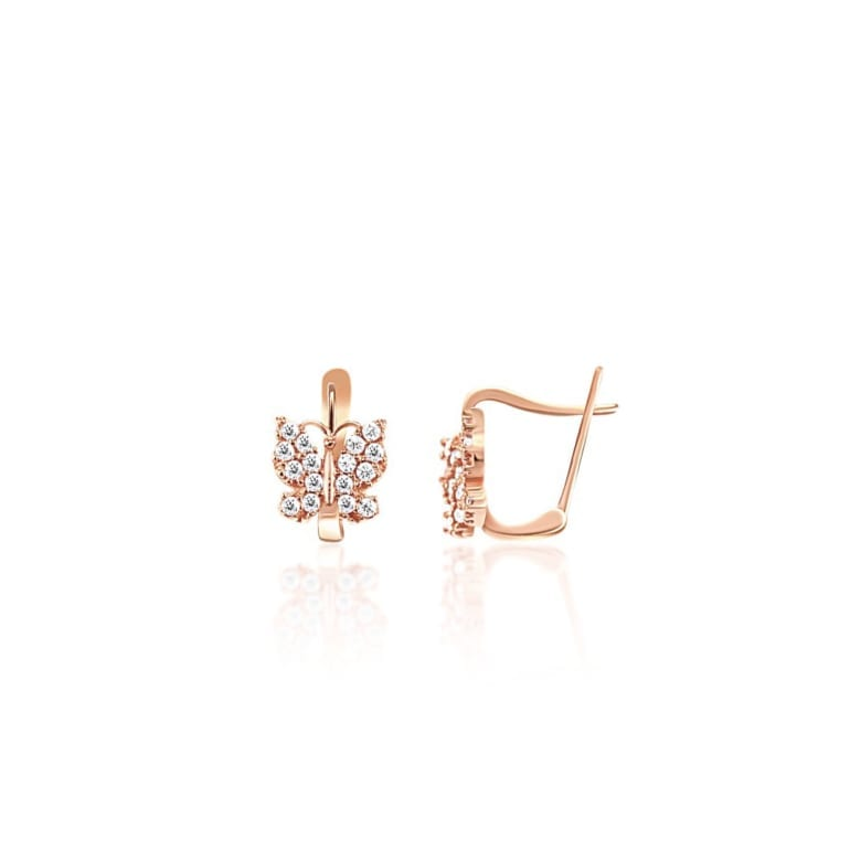 Rose gold earrings with cubic zirconia butterflies