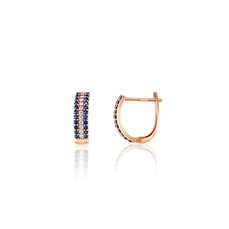 Rose gold earrings with dark blue cubic zirconia