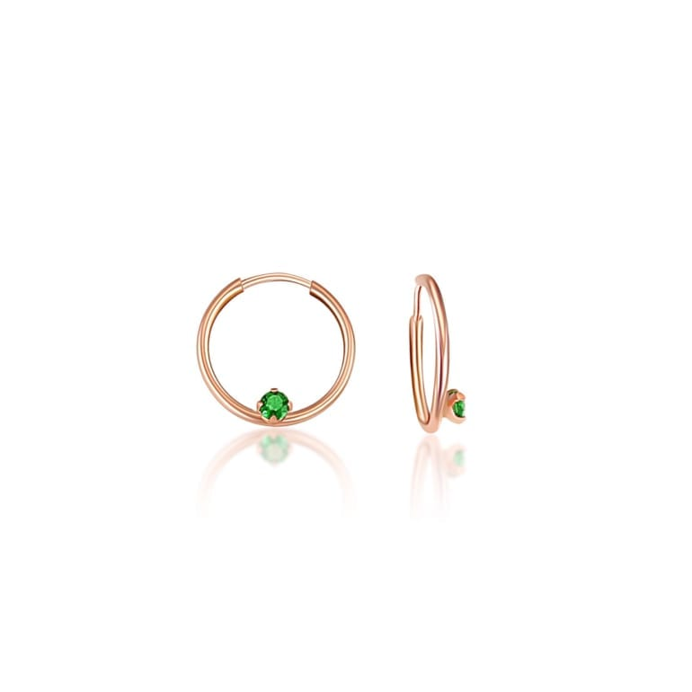 rose gold hoops with green cubic zirconia