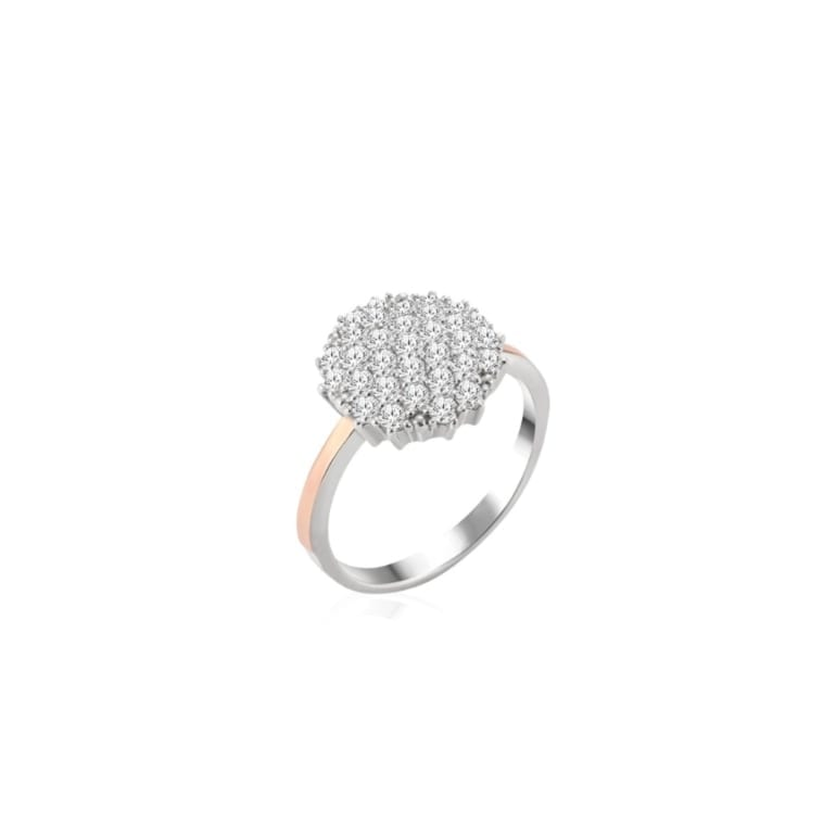 Sterling silver ring with gold plates and cubic zirconia