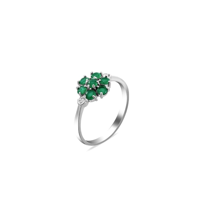 Sterling Silver Ring With Green Cubic Zirconia
