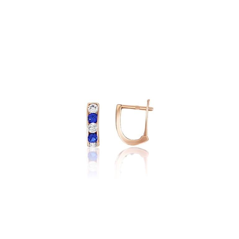 Rose gold earrings with blue and white cubic zirconia