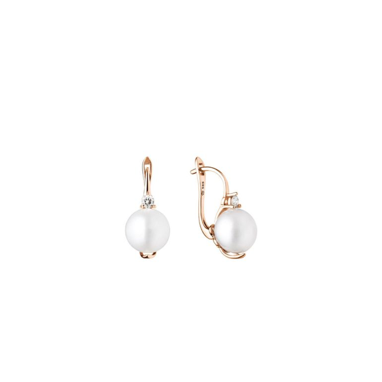 14ct Rose Gold Earrings With Cultivated Pearls And Cubic Zirconia