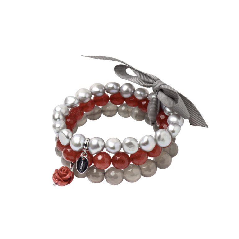 Stainless Steel Bracelet With Cultivated Pearls, Agate And Nefrites