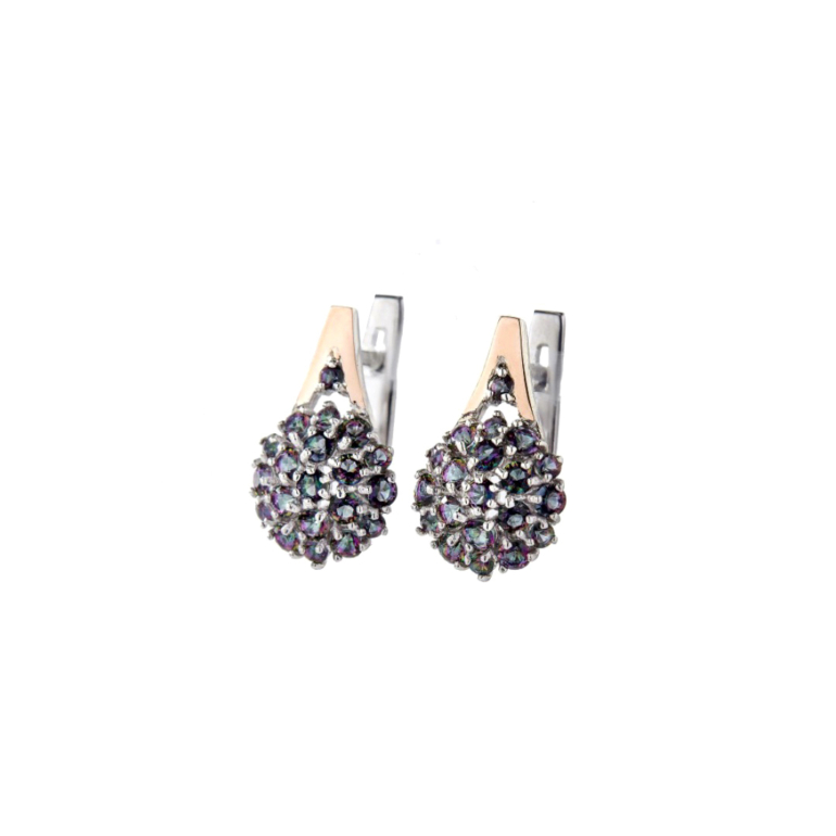 Sterling Silver Earrings With 9ct Gold Plates And Mystic Topaz
