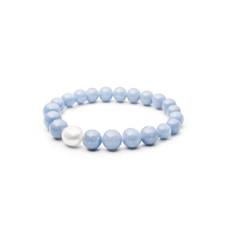 Bracelet with angelite and pearl