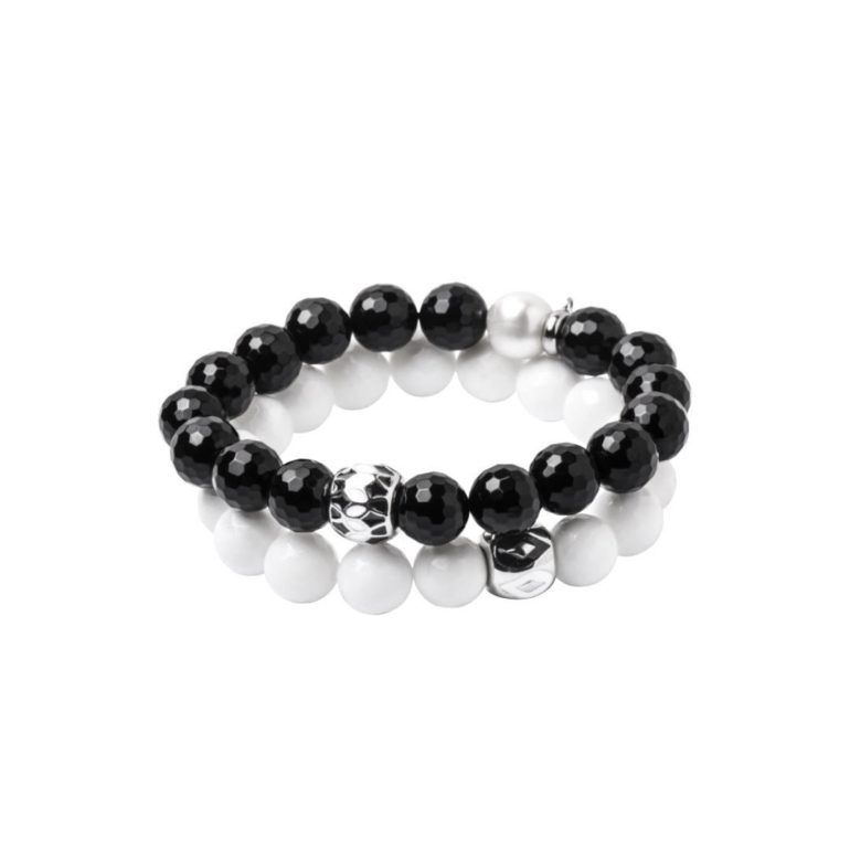 Bracelet with onyx and mother of pearl
