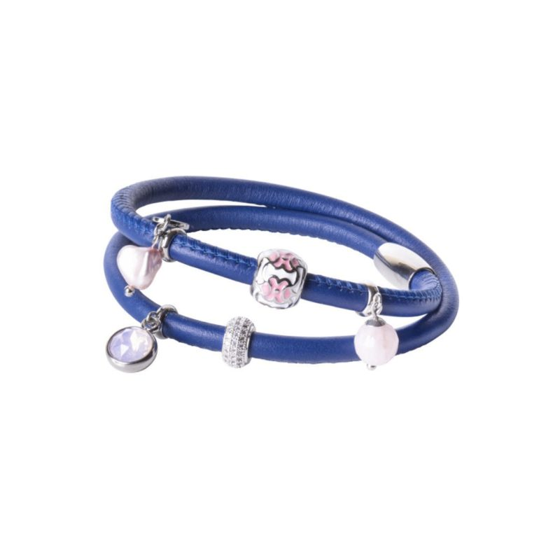 Leather bracelet with cultivated pearl, rose quartz and cubic zirconia
