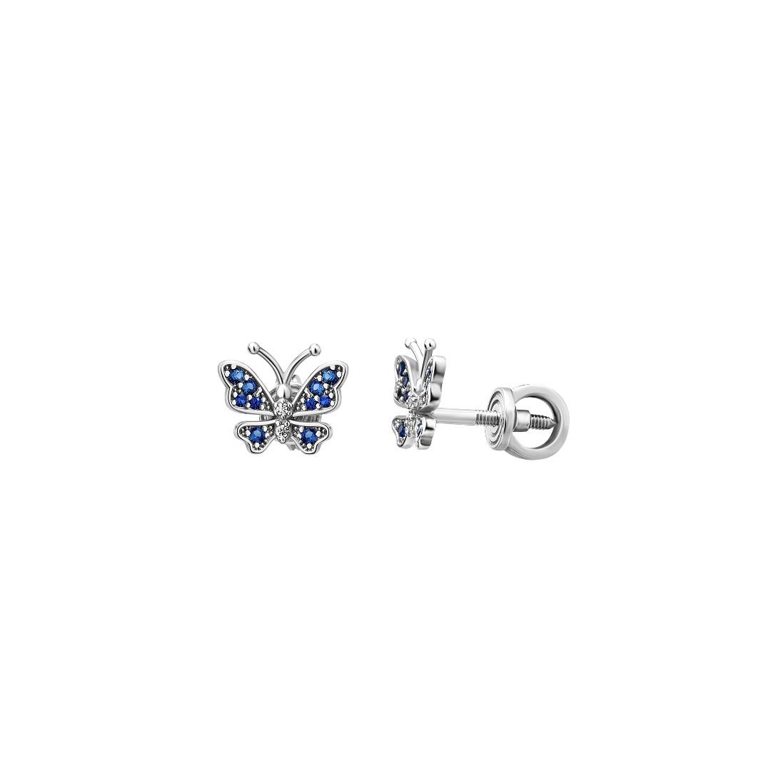 Sterlin silver earring with cubic zirconia butterfly