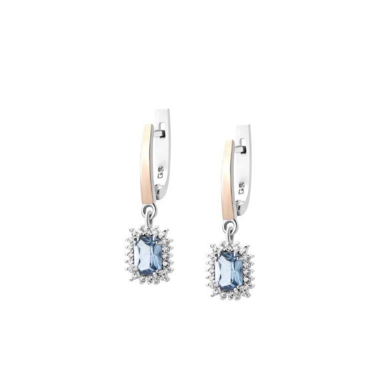 Sterling Silver Earrings With 9ct Gold Plates And Cubic Zirconia