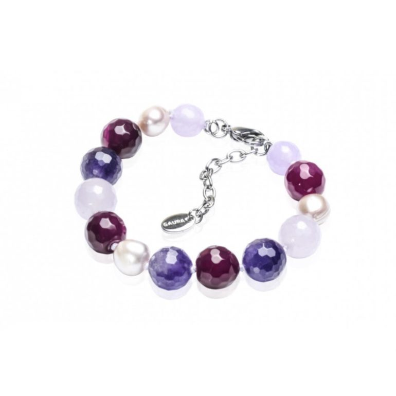 Bracelet with agate, amethyst, pearl and nephrite