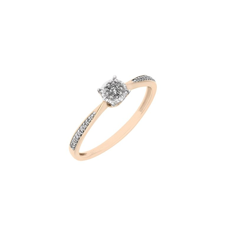 rose and white fold ring with diamonds