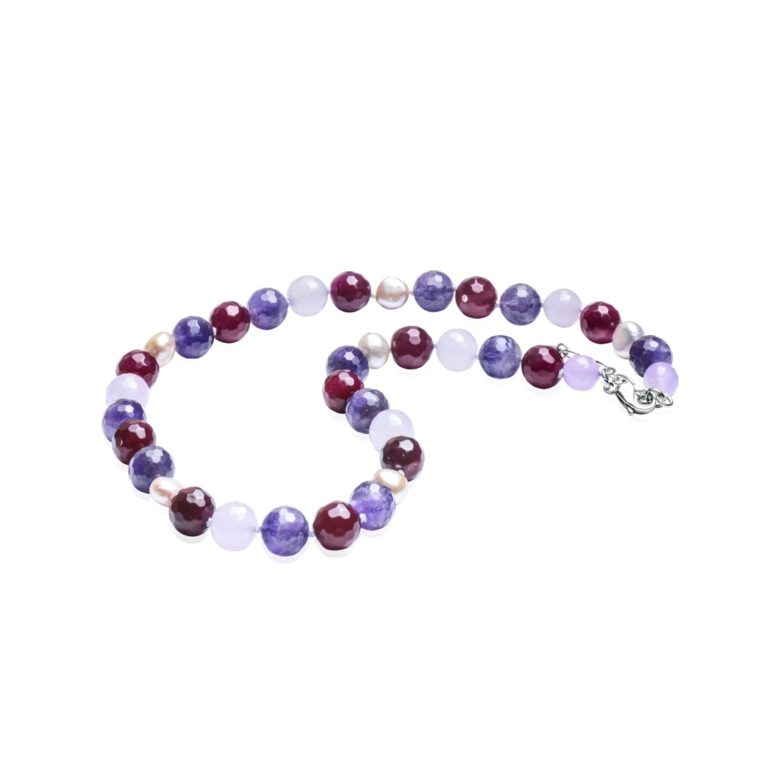 necklace with agate, amethyst, cultivated pearl and nephrite