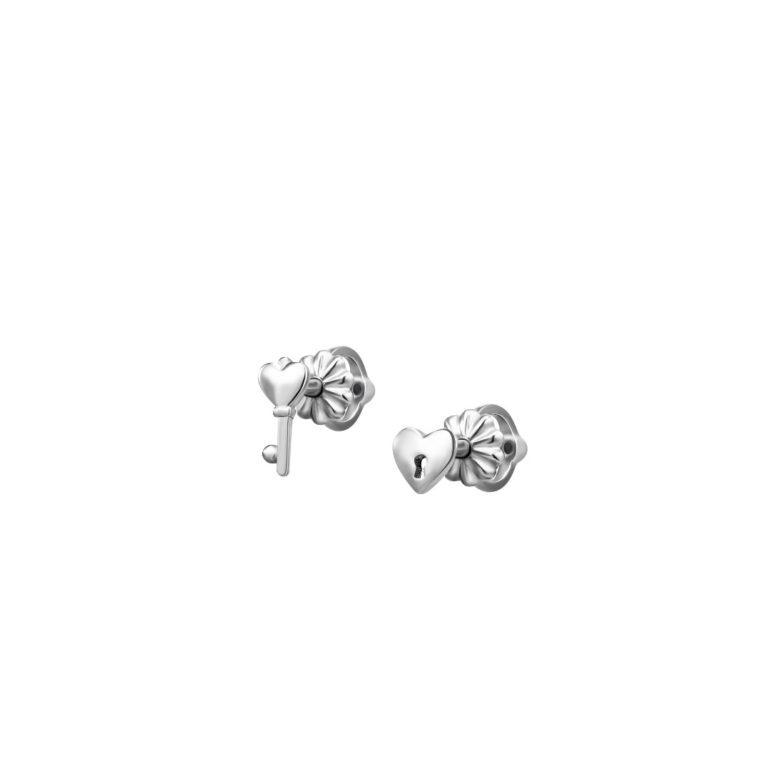 sterling silver earrings symbolic key and heart shape lock