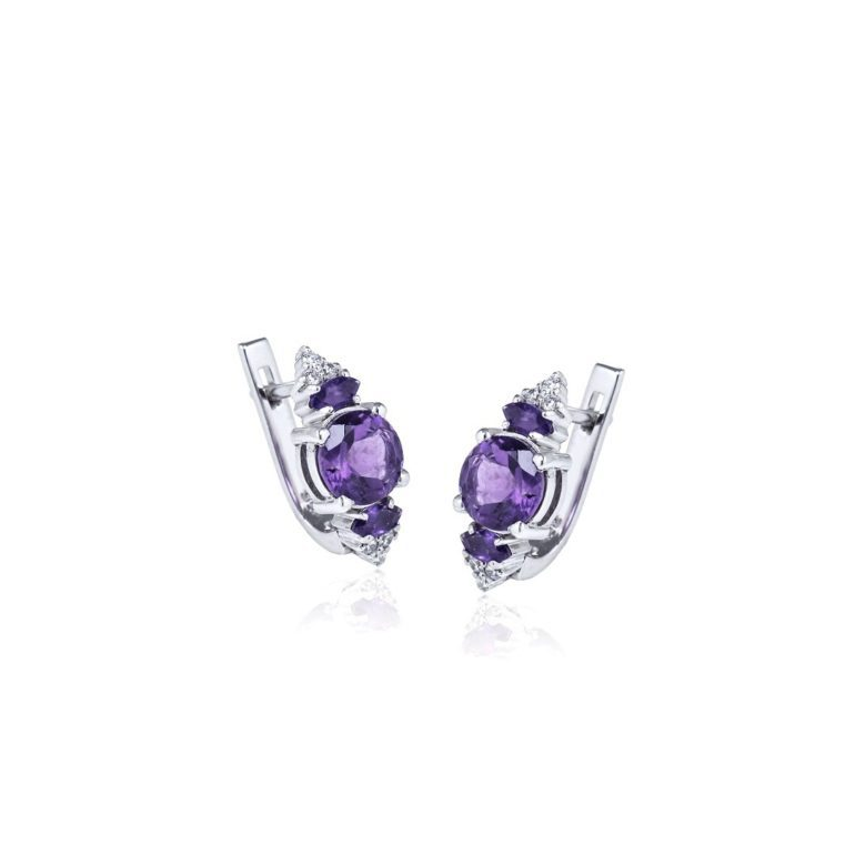 sterling silver earrings with amethyst and cubic zirconia