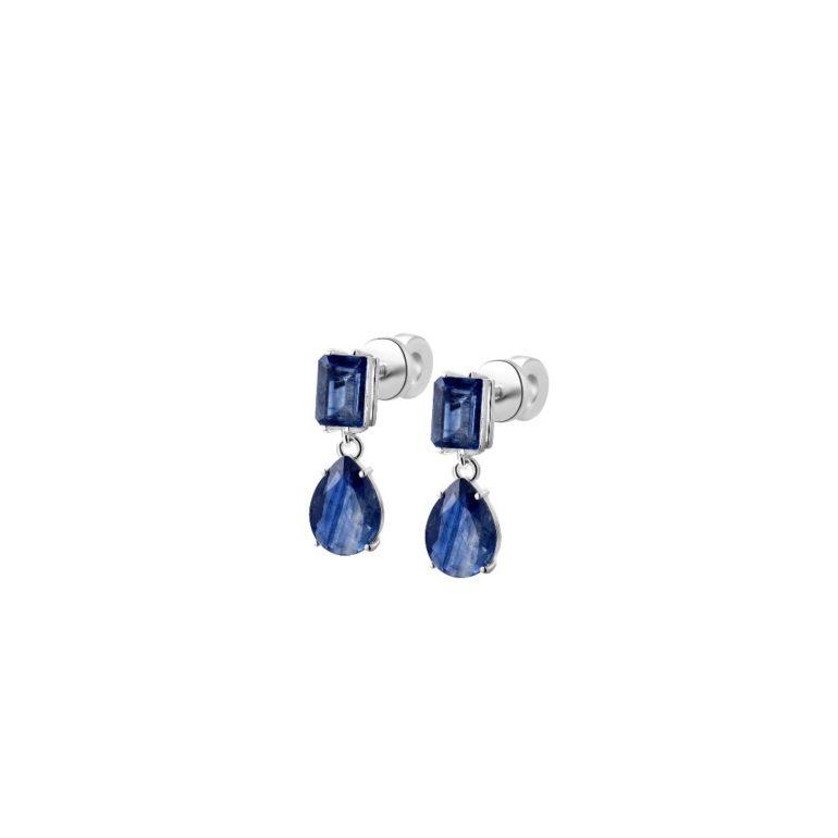 Sterling silver earrings with blue kyanite