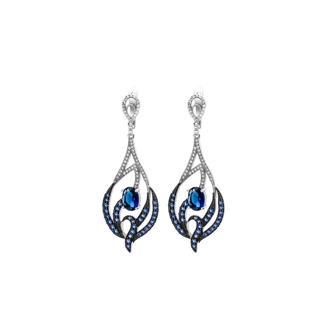 Sterling silver earrings with cubic zirconia and alpanite