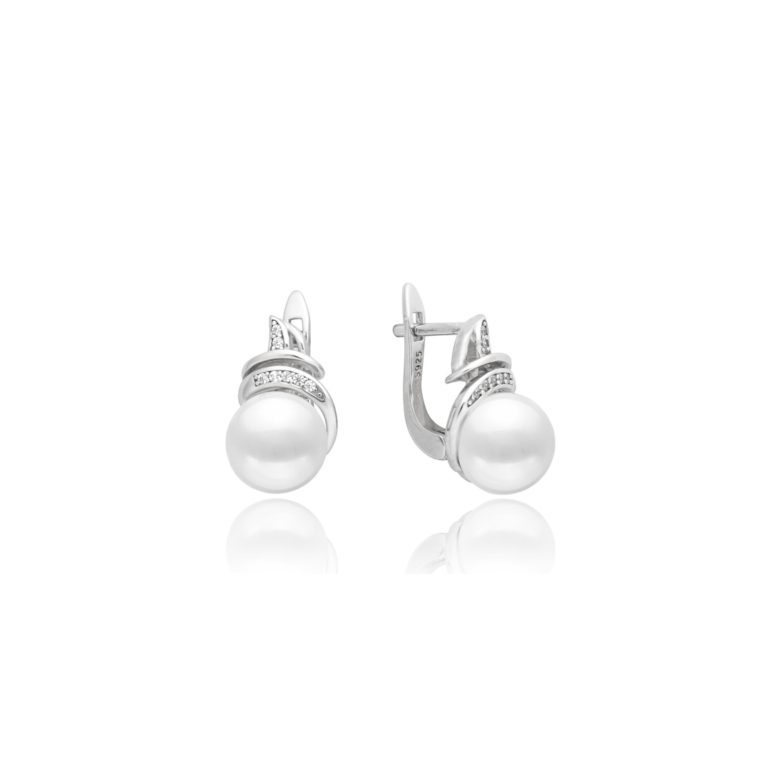 sterling silver earrings with cultivated pearls and cubic zirconia