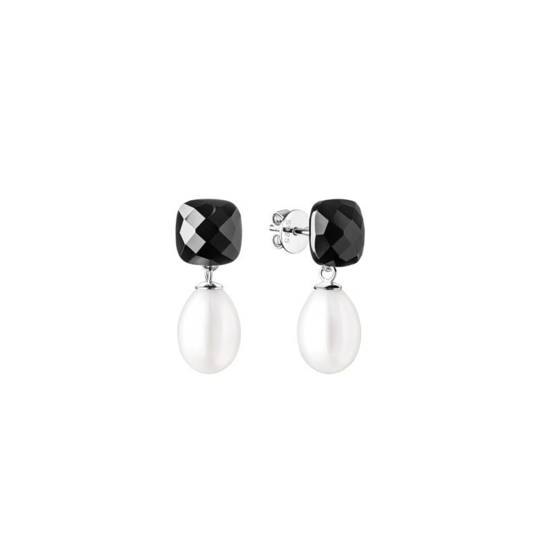 sterling silver earrings with cultivated pearls and onyx