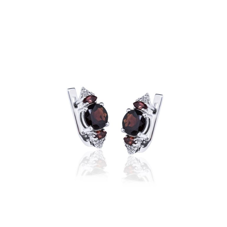 sterling silver earrings with garnet and cubic zirconia
