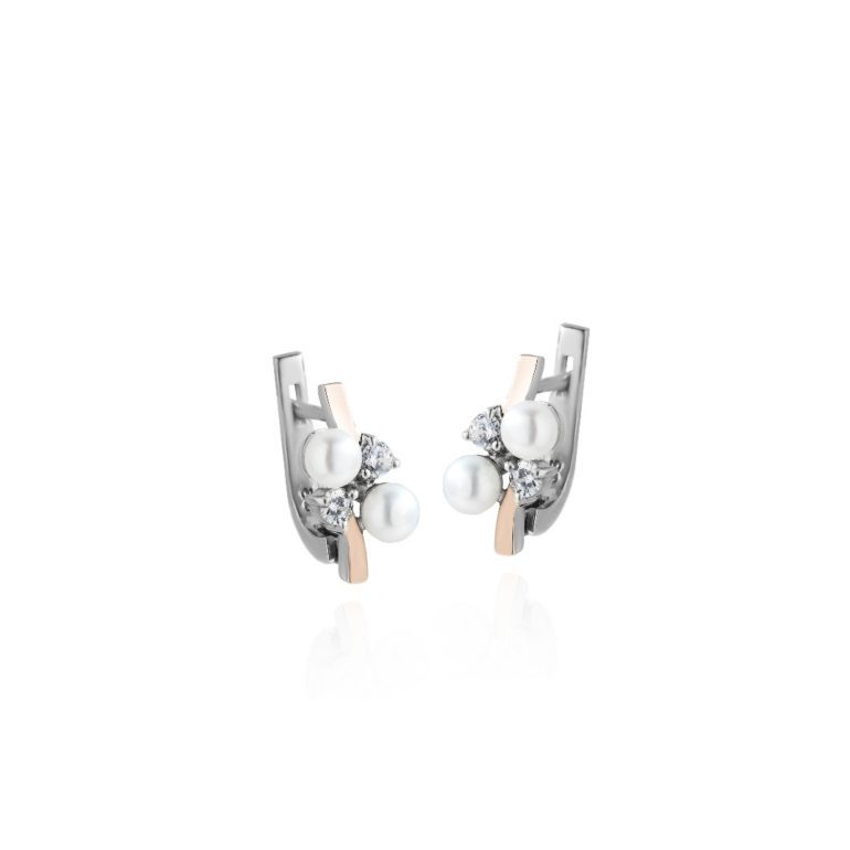 sterling silver earrings with gold plates cultivated pearls and cubic zirconia