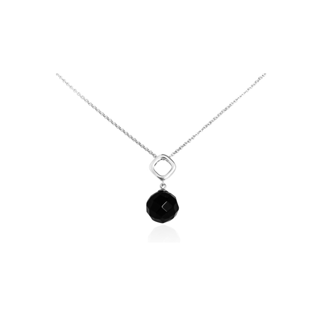 Sterling silver necklace with onyx