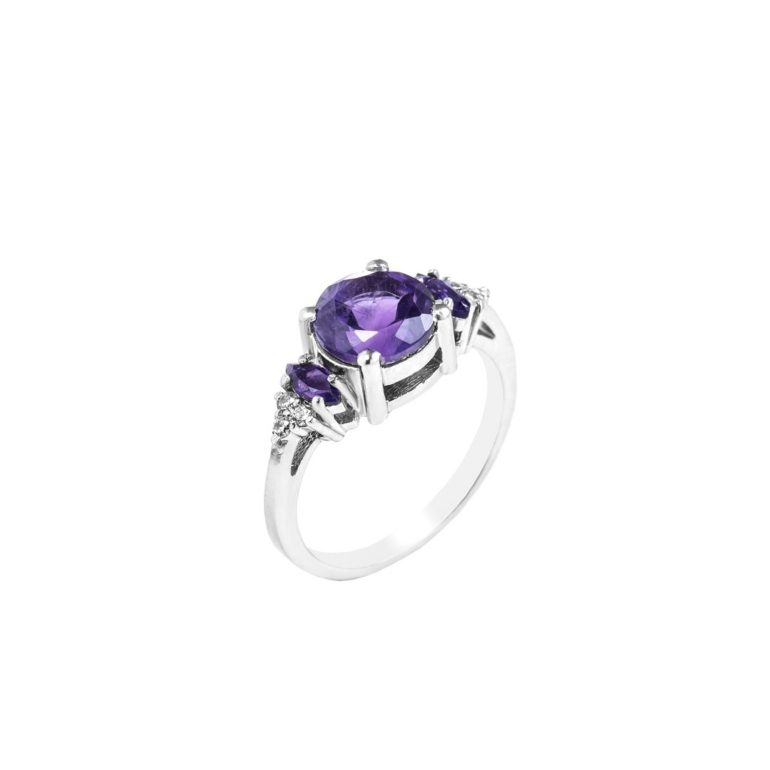 sterling silver ring with amethyst and cubic zirconia