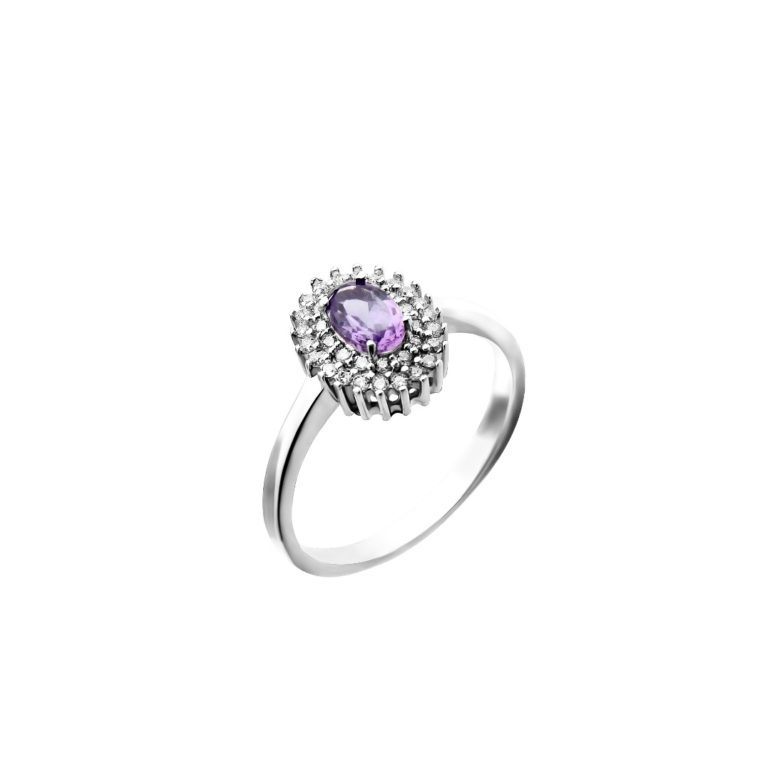 sterling silver ring with amethyst and fianit