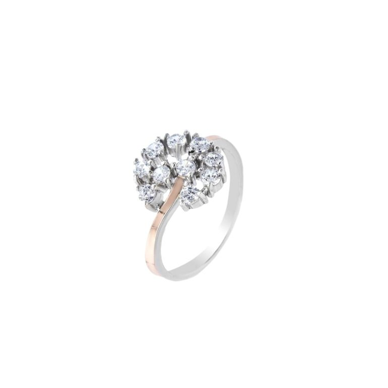 sterling silver ring with gold plates and cubic zircona