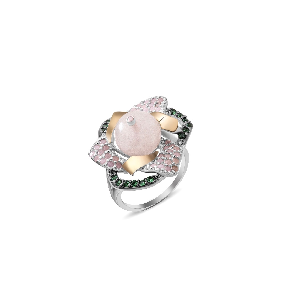Sterling silver ring with gold plates, rose quartz and cubic zirconia