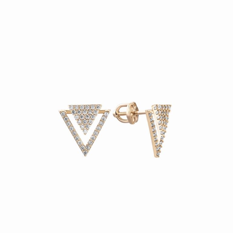 14ct rose gold earrings with fianits