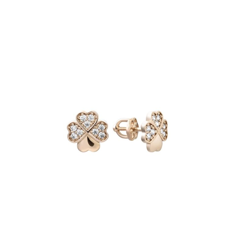 14ct rose gold earrings with fianits - four-leaf clover