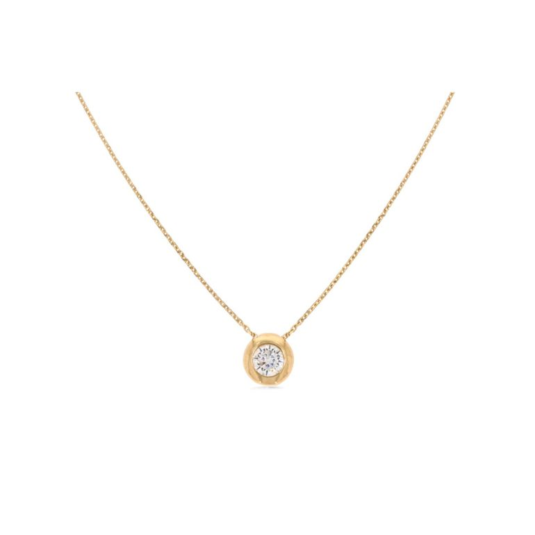 14ct rose gold necklace with cubic zirconia