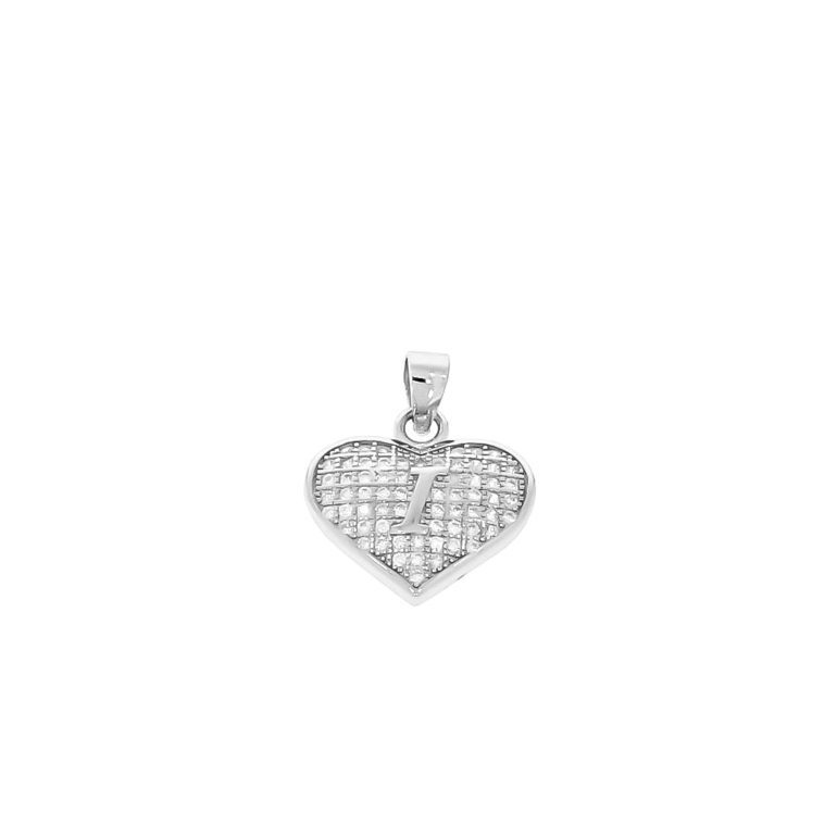 sterling silver pendant heart with initial I