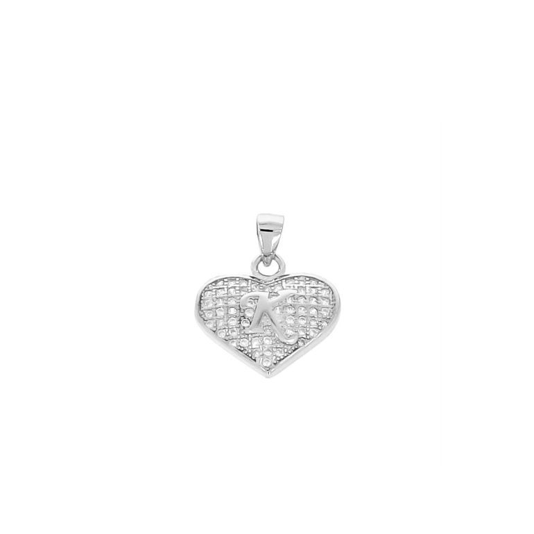 sterling silver pendant heart with initial K