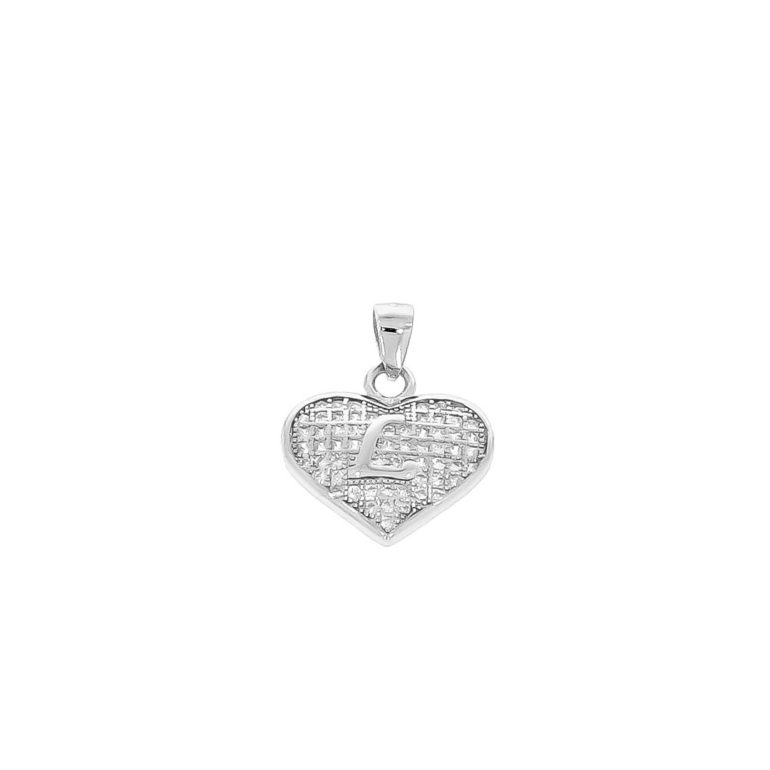 sterling silver pendant heart with initial L