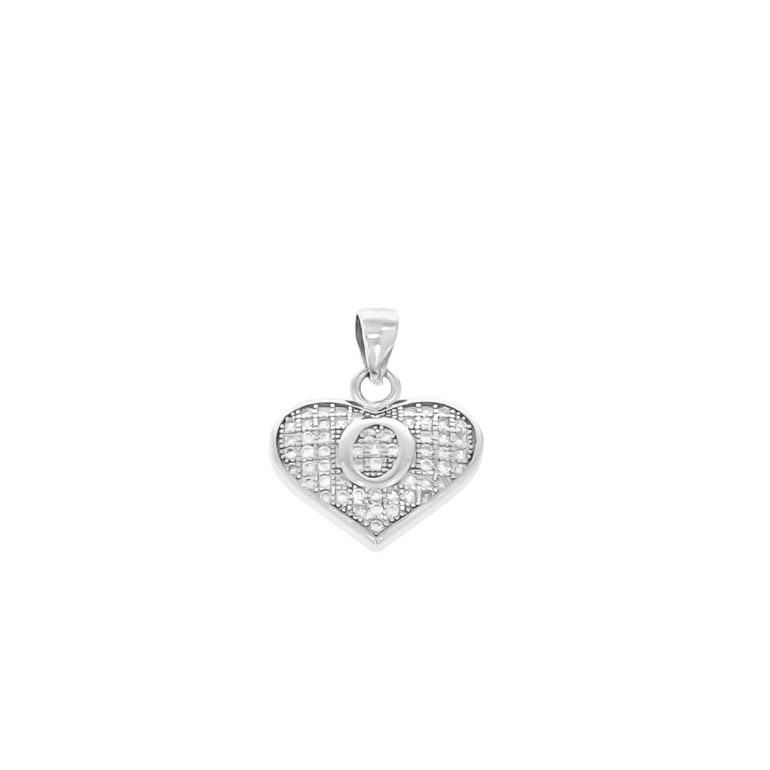 sterling silver pendant heart with initial O