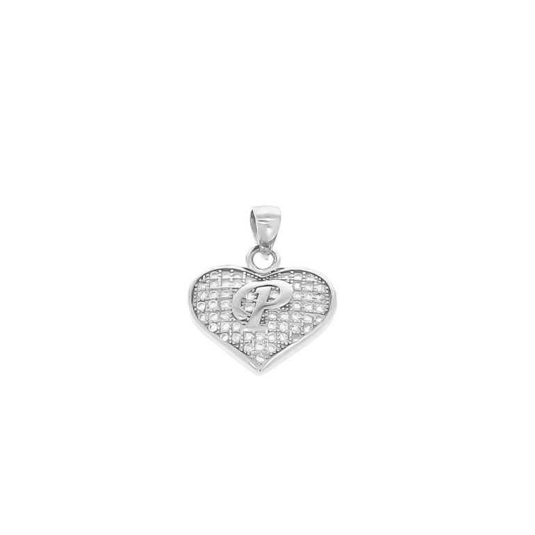 sterling silver pendant heart with initial P
