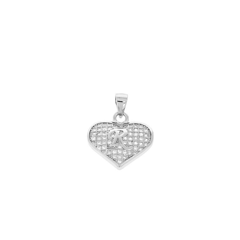 sterling silver pendant heart with initial R